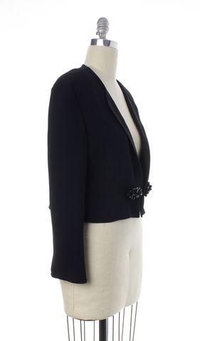 MOSCHINO Black Bead Button Embellished Cropped Blazer