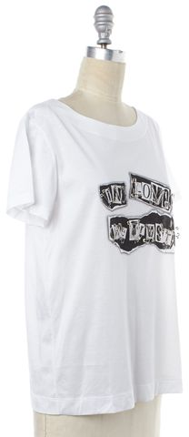 MOSCHINO White Black Graphic Embellished Tee T-Shirt