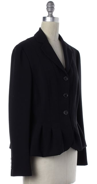 MOSCHINO Black Notched Lapel Pleated Flare Blazer