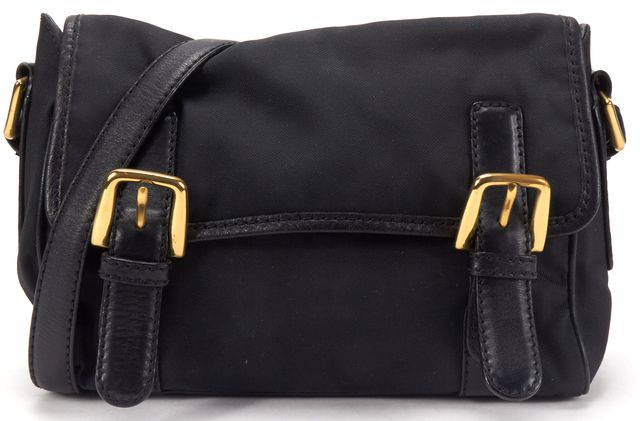 MOSCHINO Black Nylon Leather Strap Shoulder Bag