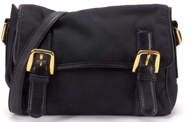 MOSCHINO Black Nylon Leather Strap Shoulder Bag