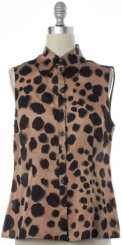 MOSCHINO Brown Black Animal Print Silk Sleeveless Blouse Top
