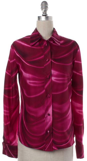 MOSCHINO Pink Abstract Silk Button Down Shirt Top