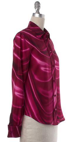 MOSCHINO Pink Abstract Silk Button Down Shirt Top