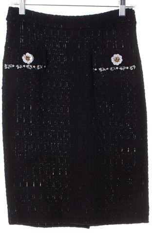 MOSCHINO Black Tweed Embellished Pencil Skirt