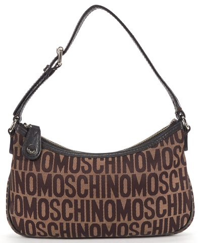 MOSCHINO Brown Canvas Logo Small Shoulder Bag