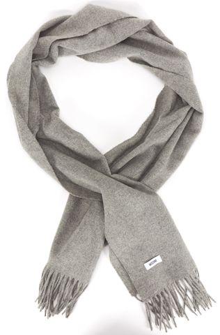MOSCHINO Gray Wool Fringe Scarf
