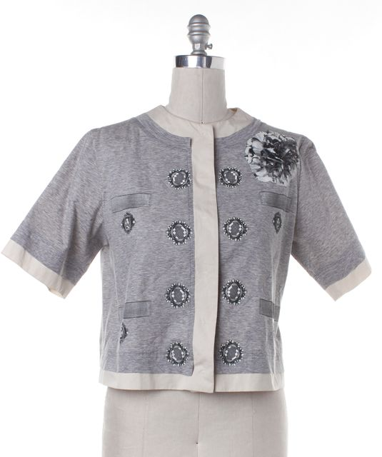 MOSCHINO Gray Ivory Cotton Quilted Graphic Short Sleeve Jacket