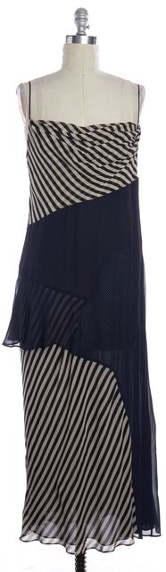 MOSCHINO Navy Blue Ivory Black Striped Silk Tiered Full Length Dress
