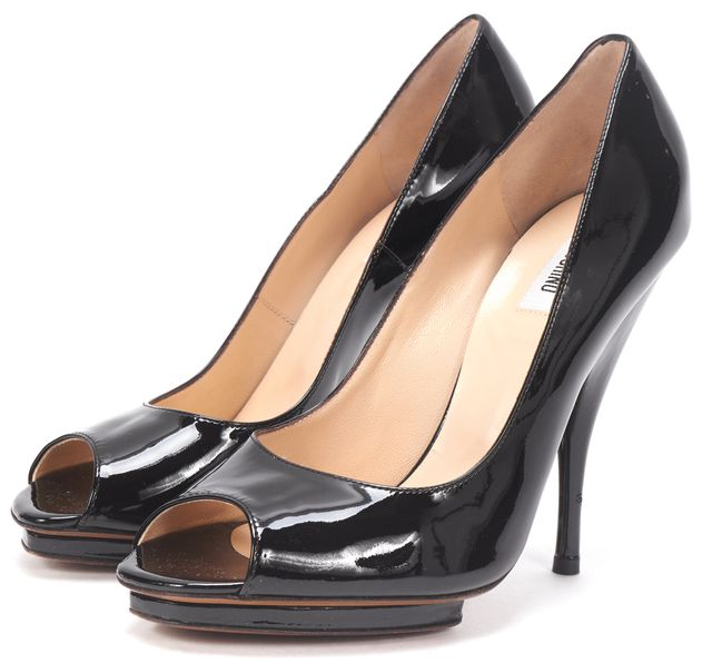 MOSCHINO Black Patent Leather Peep Toe Platform Heels