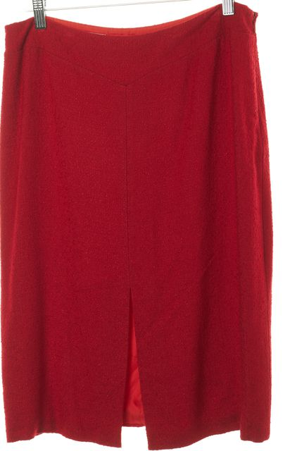 MOSCHINO Red Pleated Pencil Skirt Size IT 46 US 12
