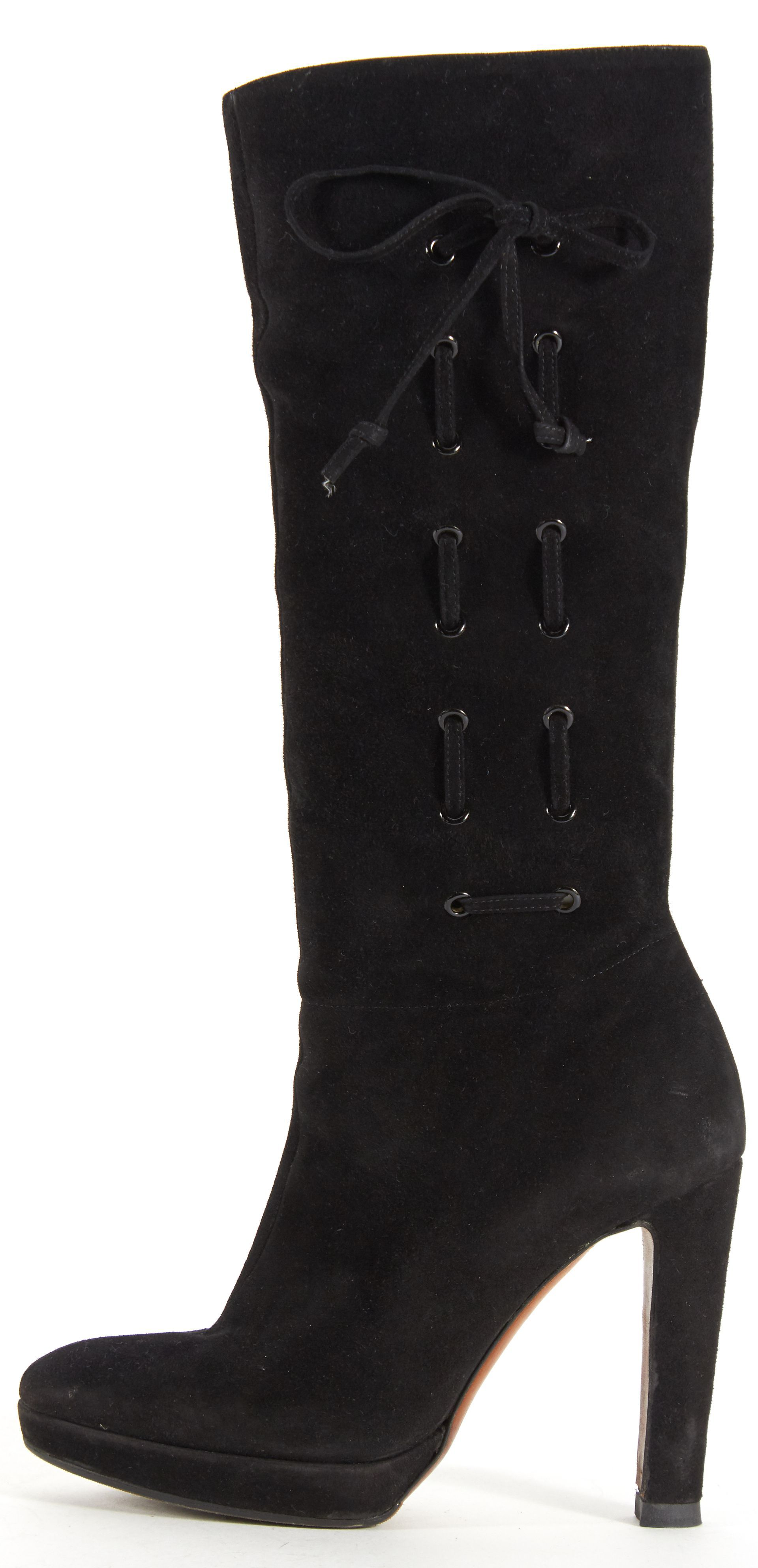 Moschino Black Suede Lace Up Heeled Knee-High Boots | Material World