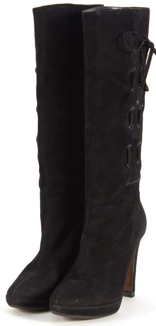 MOSCHINO Black Suede Lace Up Heeled Knee-High Boots