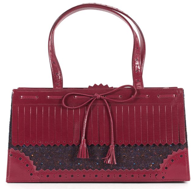 MOSCHINO Red Perforated Leather Embellished Tweed Borsa Shoulder Bag