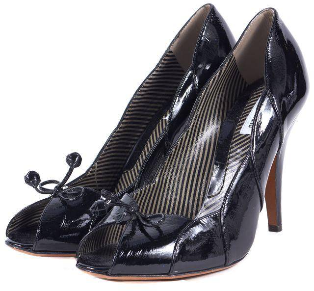 MOSCHINO Black Patent Leather Scallop Trim Peep-Toe Pumps