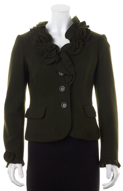 MOSCHINO Dark Olive Green Wool Ruffled Jacket