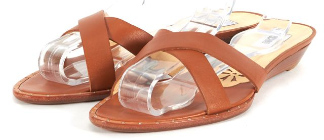 MOSCHINO Caramel Brown Leather Mini Wedge Slip-On Sandals