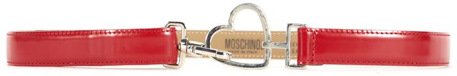 MOSCHINO Vintage Cherry Red Leather Heart Hook Skinny Belt