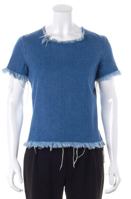 MARQUES ALMEIDA Blue Distressed Hem Short Sleeve Denim Top