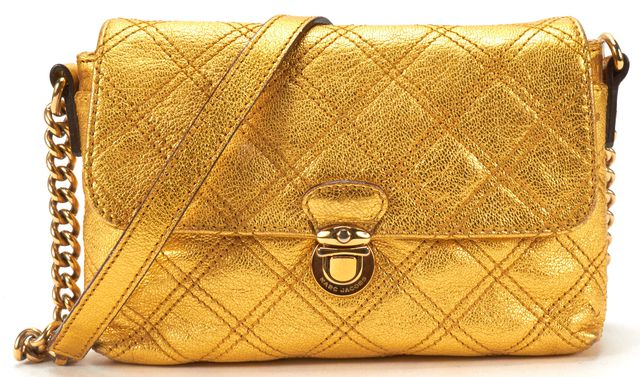 MARC JACOBS Auth Gold Metallic Quilted Leather Kiss Lock Crossbody Bag