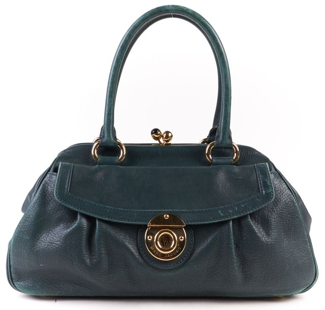 MARC JACOBS Teal Green Textured Leather Gold Hardware Kiss Lock Shoulder Bag