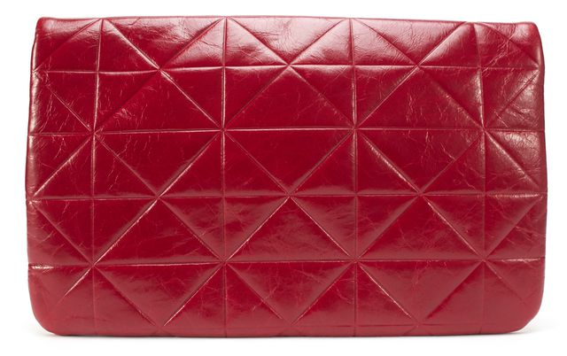 MARC JACOBS Red Quilted Leather Fold Over Clutch