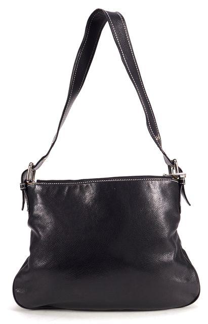 MARC JACOBS Black Leather Double Pocket Zip Shoulder Bag