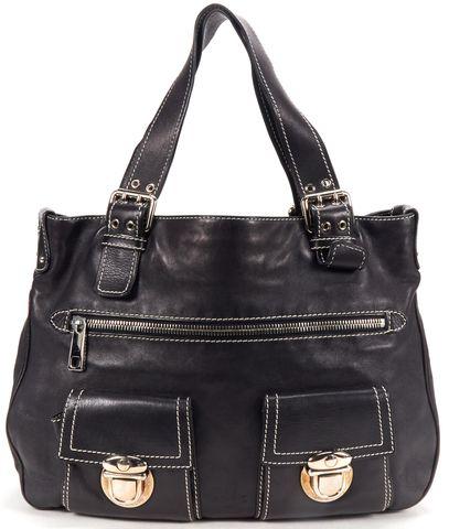 MARC JACOBS Black Leather Double Pocket Shoulder Tote Bag