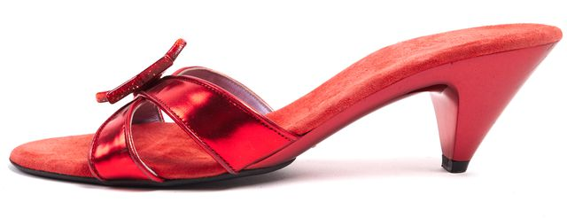 MARC JACOBS Red Patent Leather Suede Acetate Star Sandal Heels