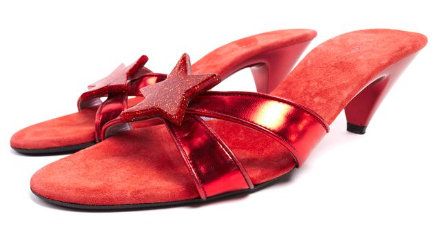 MARC JACOBS Red Patent Leather Suede Acetate Star Sandal Heels Size 8