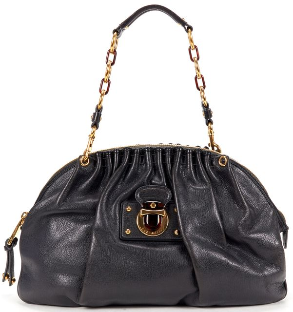 MARC JACOBS Black Leather Chain Strap Shoulder Bag