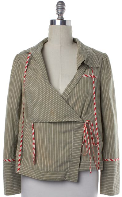 MARC JACOBS Beige White Striped Blazer Jacket