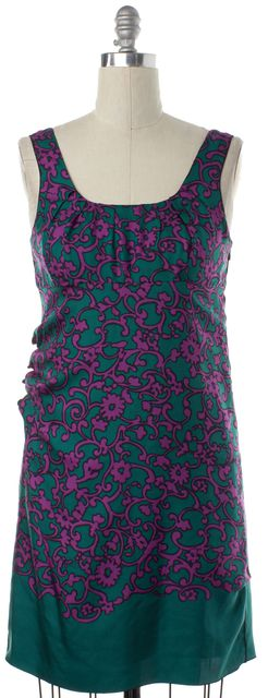 MARC JACOBS Green Purple Floral Silk Sheath Dress