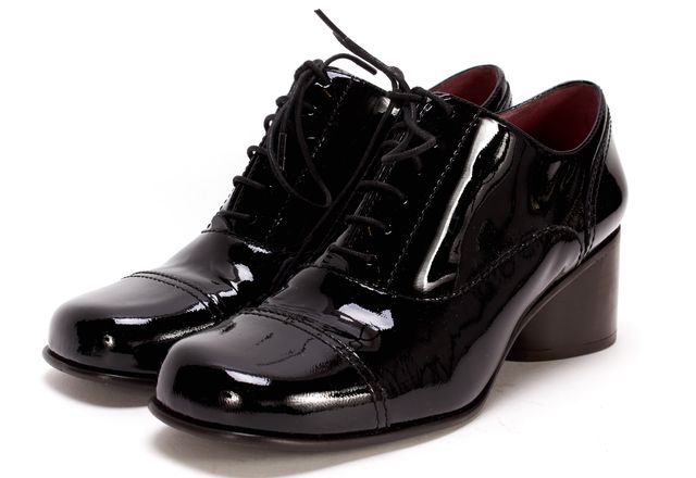 MARC JACOBS Black Patent Leather Wooden Oxfords Boot Heels