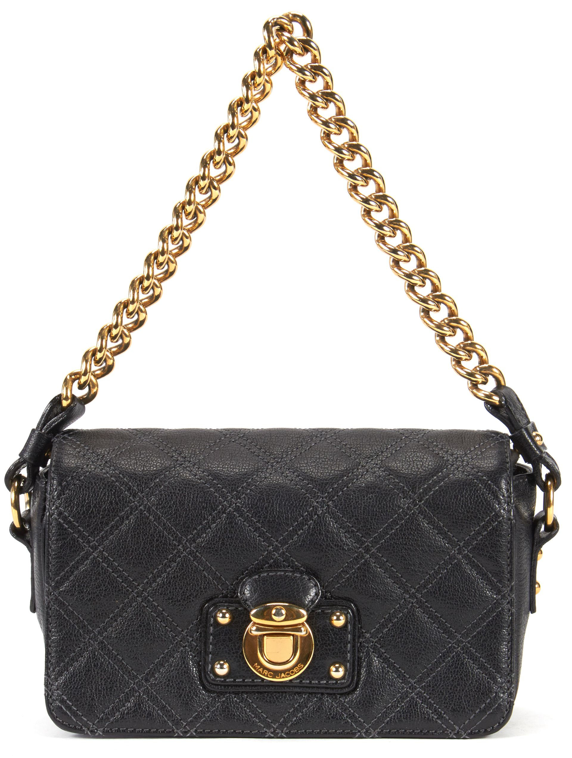 Marc Jacobs Black Quilted Leather Gold Chain Strap Shoulder Bag ...