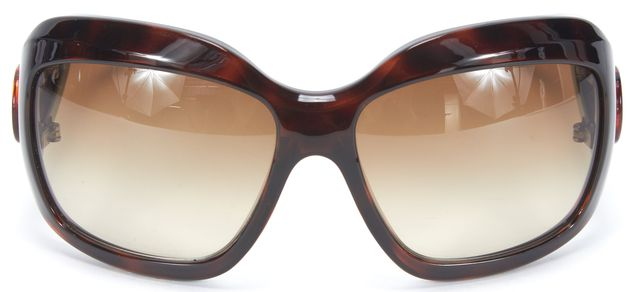MARC JACOBS Brown Tortoise Shell Acetate Square Wrap Frame Sunglasses