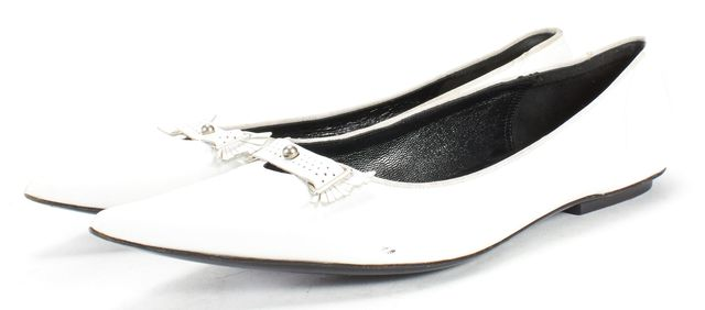 MARC JACOBS White Leather Pointed Toe Loafer