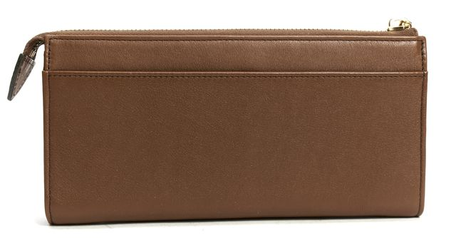 MARC JACOBS Brown Leather Push Lock Continental Wallet