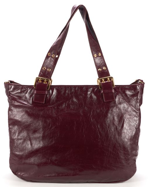 MARC JACOBS Burgundy Distressed Leather Push Lock Details Tote Bag