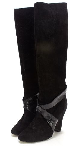 MARC JACOBS Black Suede Snakeskin Leather Trim Knee-high Boot Boots