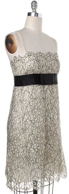 MARC JACOBS Ivory Black Lace Spaghetti Strap Empire Waist Dress