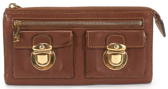MARC JACOBS Brown Leather Zip Gold Buckle Wallet