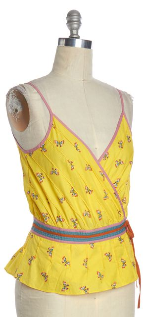 MARC JACOBS Yellow Multi Butterfly Printed Wrap Top