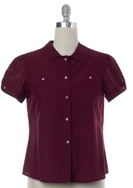 MARC JACOBS Burgundy Red Striped Button Down Shirt