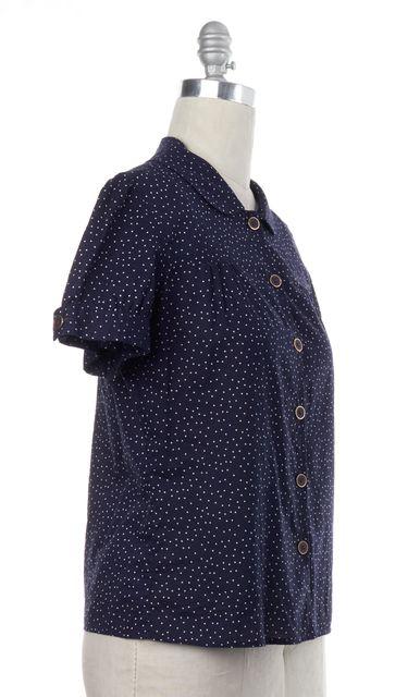 MARC JACOBS Blue Polka Dot Button Down Shirt Top