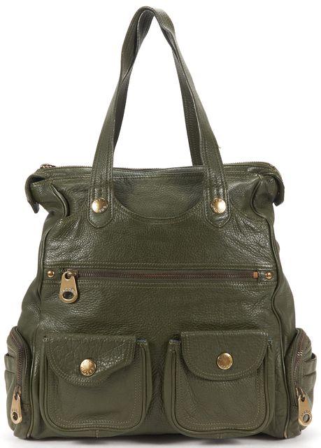 MARC JACOBS Olive Green Pebbled Leather Tote Shoulder Bag
