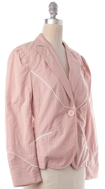 MARC JACOBS Pink White Striped Blazer Jacket