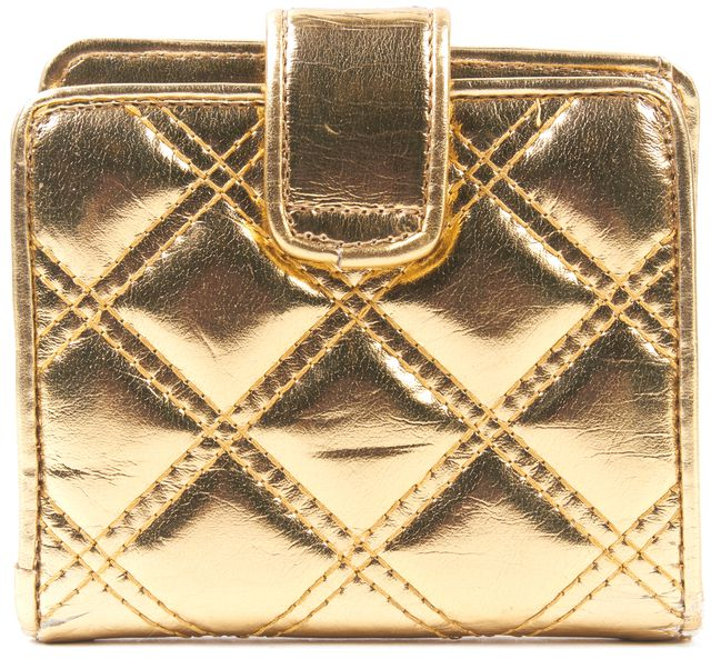 MARC JACOBS Gold Quilted Faux Leather Wallet
