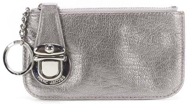 MARC JACOBS Metallic Silver Leather Keychain Card Case
