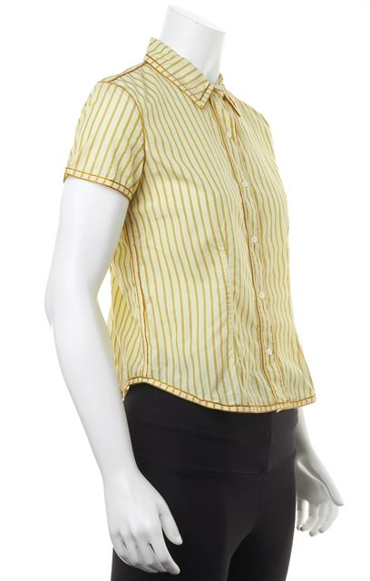 MARC JACOBS Yellow Green Striped Short Sleeve Button Down Shirt Top